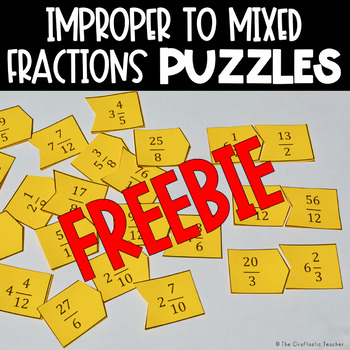 Mixed Numbers & Improper Fractions Puzzles FREEBIE