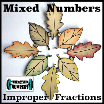 Mixed Numbers & Improper Fractions Thanksgiving Fall Leaves Wreath