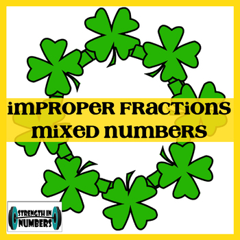 Mixed Numbers Improper Fractions St. Patrick's Day Shamrock Wreath