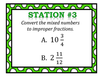 Mixed Numbers & Improper Fractions Stations