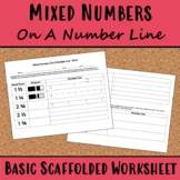 Mixed Numbers On A Number Line Basic Worksheet