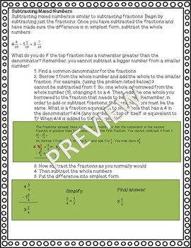 Mixed Numbers Parent Study Guide