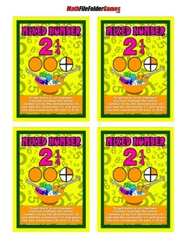 Mixed Number = Poster/Anchor Chart with Cards for Students