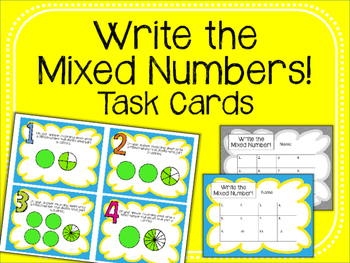 Mixed Numbers Task Cards. Fractions. Math Center.