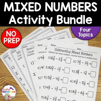 Mixed Numbers Worksheet Bundle