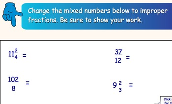 Mixed Numbers and Improper Fractions Smartboard