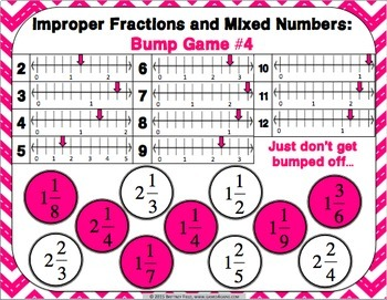 Mixed Numbers And Improper Fractions Games 12 Fractions