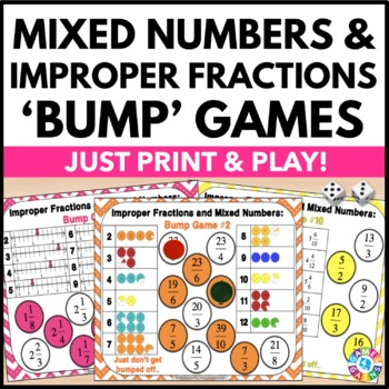 Mixed Numbers and Improper Fractions Games: 12 Fractions B