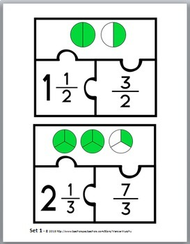 Mixed Numbers and Improper Fractions Puzzles - Fraction Activities