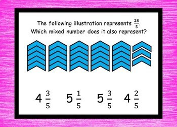 Mixed Numbers and Improper Fractions-  BOOM Cards - 24 Self-checking cards!