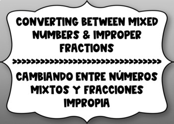 Mixed Numbers and Improper Fractions Bilingual Boom Cards
