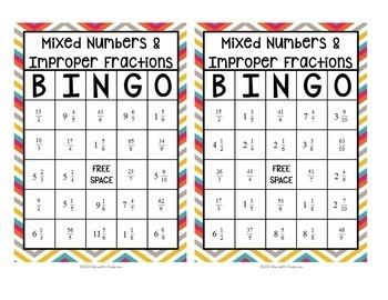 Mixed Numbers and Improper Fractions Bingo