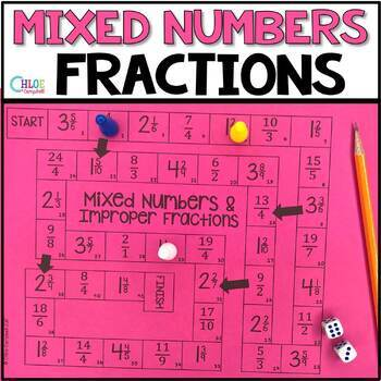 Mixed Numbers and Improper Fractions Board Game