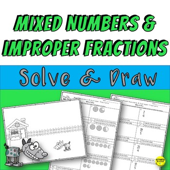 Mixed Numbers and Improper Fractions Color By Answer Practice