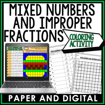 Mixed Numbers and Improper Fractions Coloring Activity 6.NS.A.1