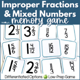 Mixed Numbers and Improper Fractions Concentration Game
