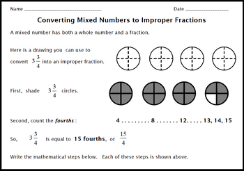 Mixed Numbers & Improper Fractions:  Converting by Shading Regions