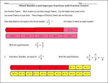 Mixed Numbers and Improper Fractions:  Converting with Fraction Towers