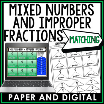 Mixed Numbers and Improper Fractions Cut and Paste 6.NS.A.1