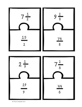 Mixed Numbers, Improper Fractions, Fractions as Division Matching Game