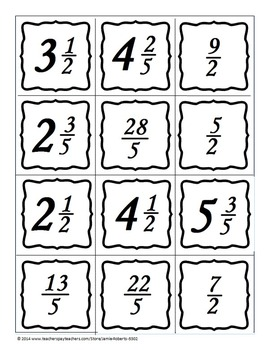 Mixed Numbers and Improper Fractions Memory Game