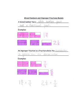 Mixed Numbers and Improper Fractions Models Notes