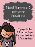 Mixed Numbers and Improper Fractions Notes & Practice