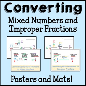 Converting Mixed Numbers and Improper Fractions Math Set