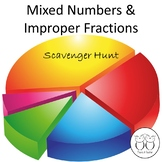 Mixed Numbers and Improper Fractions: Math Scavenger Hunt No Prep 4th Grade