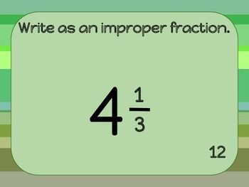 Mixed Numbers and Improper Fractions Solve the Room