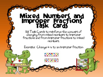 Mixed Numbers and Improper Fractions Task Cards