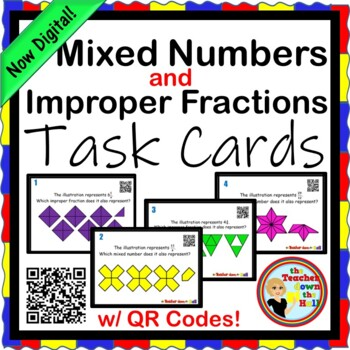 Mixed Numbers and Improper Fractions Task Cards (24 w/ QR Codes)