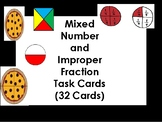 Mixed Numbers and Improper Fractions Task Cards (32 Cards)