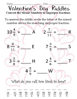 mixed numbers and improper fractions valentine 39 s day riddles by april dockery. Black Bedroom Furniture Sets. Home Design Ideas