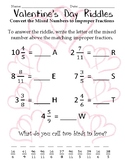 Mixed Numbers and Improper Fractions Valentine's Day Riddles