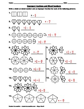 Mixed Numbers and Improper Fractions Worksheet