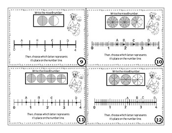 Mixed Number and Improper Fractions Worksheets on a Number Line