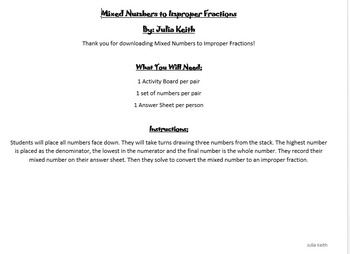 Mixed Numbers to Improper Fractions Activity