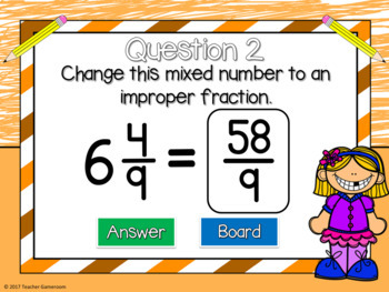 Mixed Numbers to Improper Fractions Mini Game
