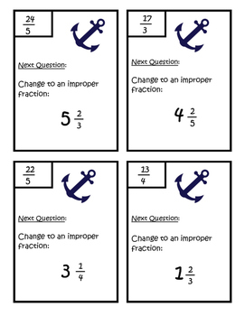 Mixed Numbers to Improper Fractions Scavenger Hunt