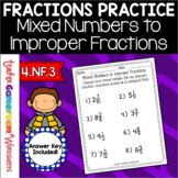 Mixed Numbers to Improper Fractions Worksheet