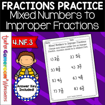 mixed to improper fractions worksheet pdf