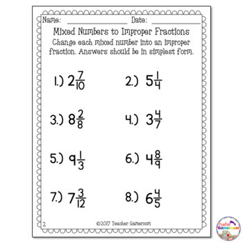 mixed numbers to improper fractions worksheet by teacher gameroom mixed numbers to improper fractions worksheet