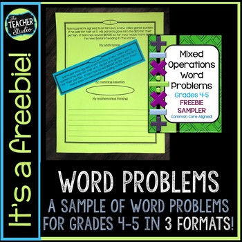 Mixed Operation Word Problem FREEBIE: Problem Solving for Grade 4-5
