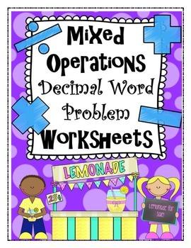 Mixed Operation Decimal Word Problem Worksheets