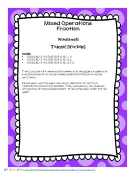 Mixed Operation Fraction Word Problem Worksheets