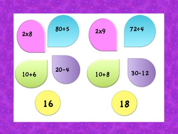Mixed Operation Matching Game (Division, Addition, Subtraction, Multiplication)
