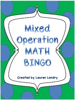 Mixed Operation Math Bingo with 33 Unique BINGO Cards