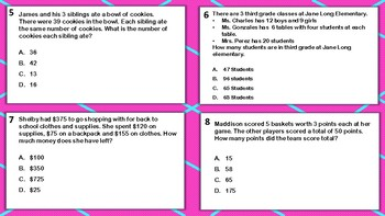 Mixed Operation Multiplication and Division Word Problem TASK CARDS TEK aligned