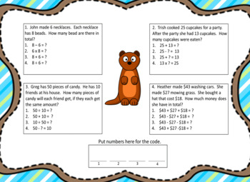 Mixed Operation Word Problems (Answers to 100)-Lock Box Escape Room